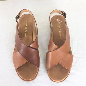 Franco Sarto Brown Leather Mojo Sandals